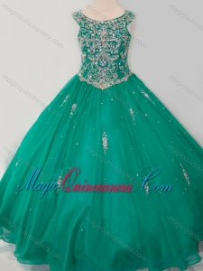 Classical Puffy Skirt Scoop Dark Green Little Girl Pageant Dress with Beading