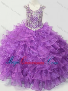 Puffy Skirt V-neck Lace Up Little Girl Pageant Dress with Straps and Ruffled Layers