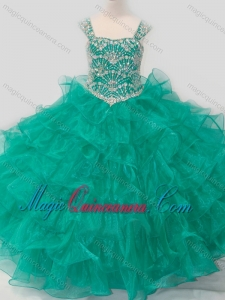 Top Selling Princess Straps Organza Turquoise Lace Up Little Girl Pageant Dress with Beading