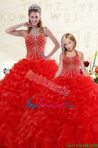 Popular Beading and Ruffles Red Princesita Dress for 2015
