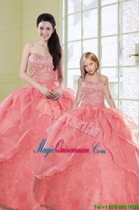 2015 Ruffles Watermelon Red Princesita Dress with Sequins