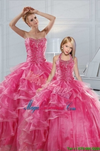 Hot Pink Sweetheart Beading Quinceanera Dresses