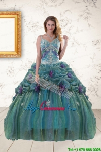 Pretty Straps Appliques Quinceanera Dresses for 2015
