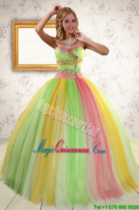 Elegant Ball Gown Sweet 16 Dresses in Multi Color for 2015