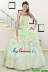 2015 Cheap Strapless Yellow Green Quinceanera Gowns with Beading
