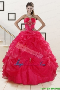 Perfect Red Sweetheart Quinceanera Dresses with Appliques