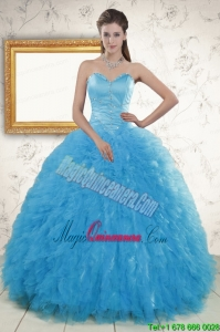 2015 Remarkable Beading Quinceanera Dresses in Baby Blue