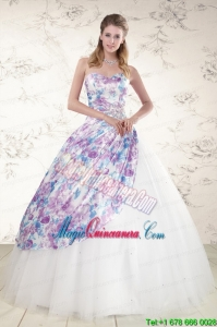2015 Unique Puffy Multi Color Quinceanera Dresses with Beading