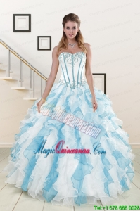 Appliques and Ruffles 2015 Quinceanera Dresses in Multi Color