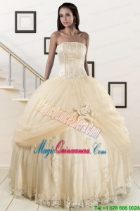 Custom Made Appliques and Hand Made Flower Champagne Quince Dresses