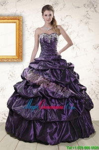 Modern Sweetheart Purple Sweet 15 Dresses with Appliques for 2015