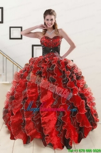 Unique Beading Sweetheart Organza Quinceanera Dress in Multi Color