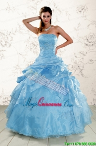 2015 Brand New Aqua Blue Quinceanera Dresses with Appliques