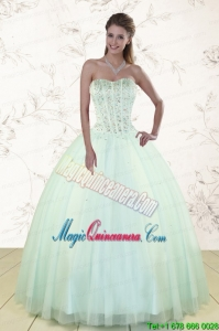 2015 Light Blue Sweet 15 Dresses with Beading