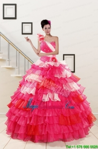 2015 One Shoulder Pretty Quinceanera Dresses in Multi Color