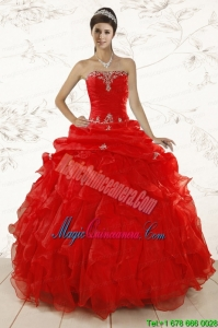 2015 Red Ball Gown Strapless Sweet 15 Dresses with Beading and Ruffles