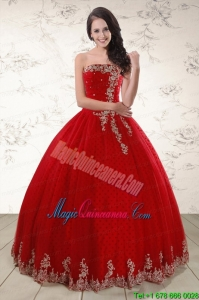 Elegant Red Strapless 2015 Quinceanera Dresses with Appliques