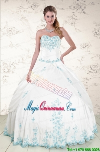 Modest Appliques 2015 Quinceanera Dresses in White