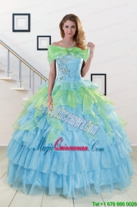 Pretty Beading Strapless Multi Clor Quinceanera Dress for 2015