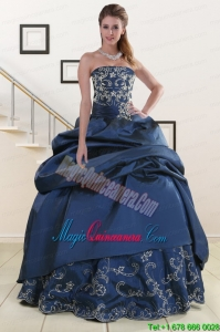 2015 Custom Made Embroidery and Beading Quinceanera Dresses in Navy Blue