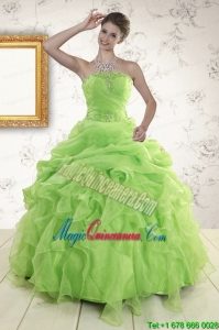 2015 Perfect Green Quinceanera Dresses with Beading and Ruffles