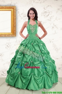 Discount Halter Top Sweet 16 Dresses with Appliques