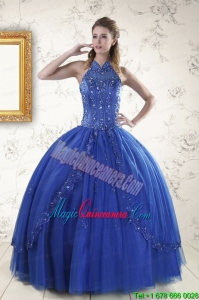 Luxurious Royal Blue Sweet 15 Dresses with Appliques and Beading for 2015