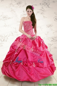 Strapless Hot Pink Quinceanera Dress with Appliques for 2015