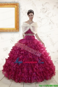 2015 Sweetheart Quinceanera Gown with Beading and Ruffles