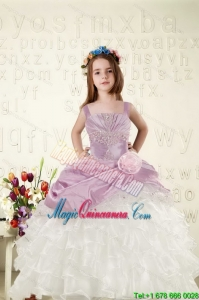 Cheap White and Lavender Little Girl Dress with Appliques and Ruffled Layers