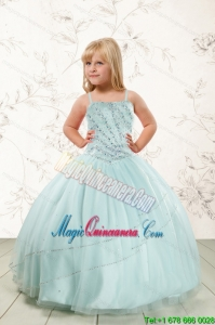 Luxurious Beading and Ruffles Little Girl Pageant Dress in Aqua Blue