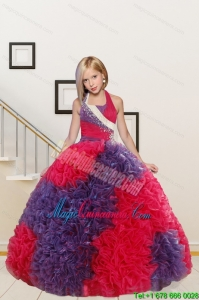New Arrival Straps Ball Gown Multi-color Flower Girl Dress with Beading and Ruffles