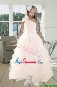 2015 Gorgeous A Line One Shoulder Baby Pink Prom Dress with Beading and Ruffles