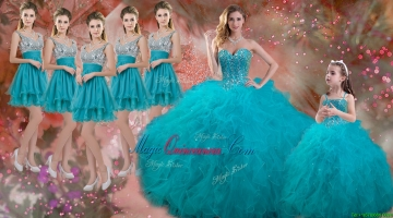 Luxurious Beaded and Ruffled Quinceanera Dress and Sweet Spaghetti Straps Teal Mini Qwuinceanera Dress and Discount Sequined Short Dama Dresses