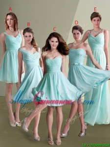 2016 Elegant Empire Ruched Decorated Chiffon Dama Dress in Aqua Blue