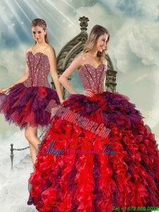 Detachable Beading and Ruffles Multi-color Quince Dresses for 2015