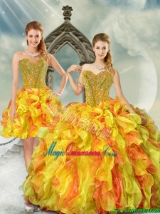 2015 Beautiful and Detachable Yellow and Orange Sweet 16 Dresses with Beading and Ruffles