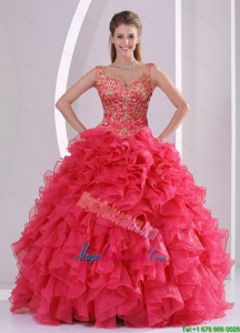 2015 Modern Beading and Ruffles Quince Dresses in Red