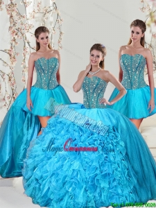 Detachable and Fashion Aqua Blue Sweet 15 Dresses with Beading and Ruffles for 2015