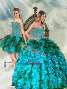 Detachable and Fashion Multi Color Beading and Ruffles Sweet 15 Dresses for 2015