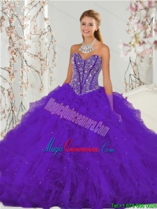 Exquisite Purple Sweet 16 Dresses with Beading and Ruffles