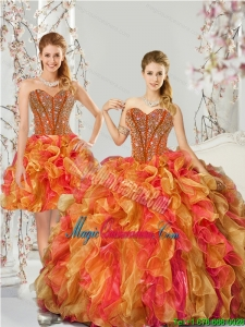 New Arrival and Detachable Beading and Ruffles Quinceanera Dress Skirts in Multi Color