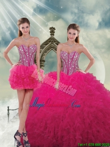 Unique and Detachable Beading and Ruffles Quinceanera Dress Skirts in Hot Pink