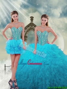 2015 Spring Luxurious Beading and Ruffles Turquoise Dresses For Quince
