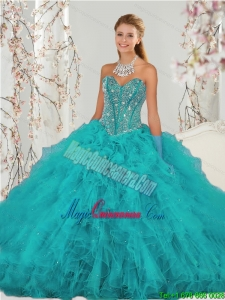 2015 Top Seller and Popular Beading and Ruffles Sweet 15 Dresses in Turquoise