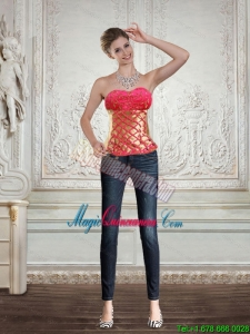 2015 Cute Strapless Multi Color Corset with Beading and Embroidery