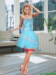 2015 New Arrival Baby Blue Sweetheart Dama Dress with Beading