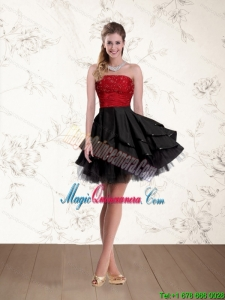 2015 New Arrival Strapless Beading Dama Dresses in Red and Black