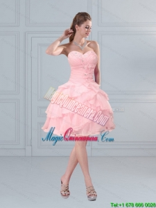 2015 New Arrival Sweetheart Beading Baby Pink Dama Dresses with Ruffled Layers