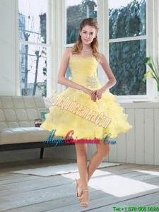 2015 Sweetheart Beading New Arrival Light Yellow Dama Dresses